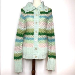 Free People Green Pastel Open Knit Cowl Sweater L